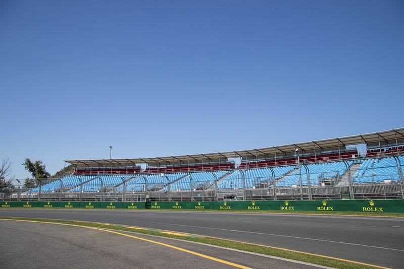 Empty grandstands at Albert Park ahead of the 2020 Australian Grand Prix