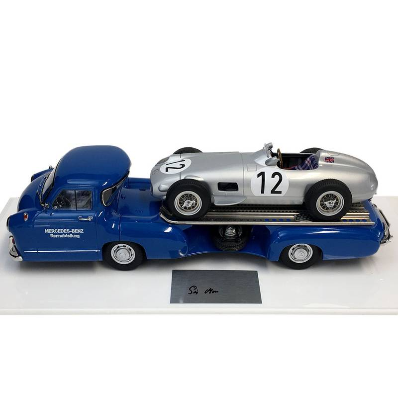 Product image for Stirling Moss - Mercedes W196 + Renntransporter - 1955  | model | signed Stirling Moss | 1:18 scale