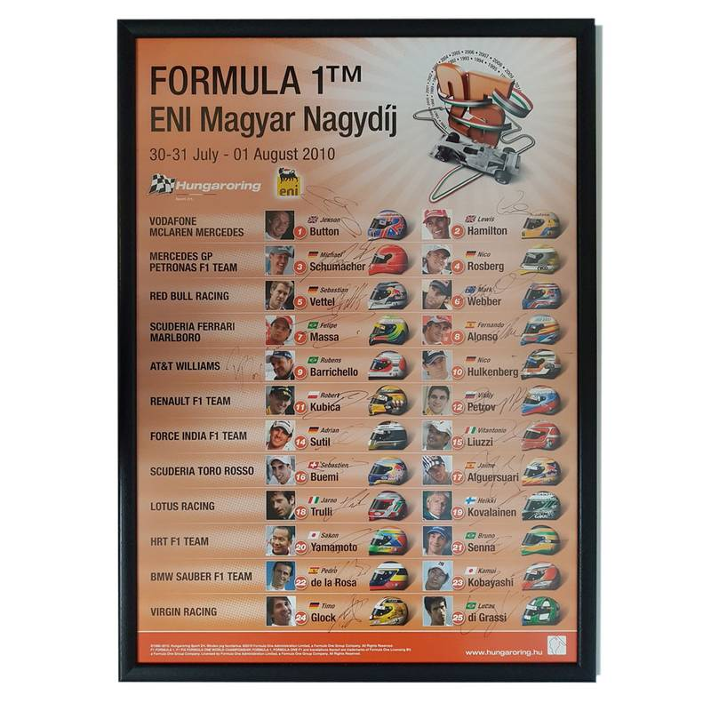 Product image for F1 | Hungarian Grand Prix - 2010 - Budapest | original poster | signed 23/24 2010 grid