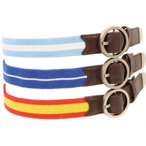 Three Suixtil Avus Belts in Blue and Red