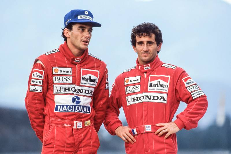 Ayrton Senna Alain Prost 1989 McLaren team photo