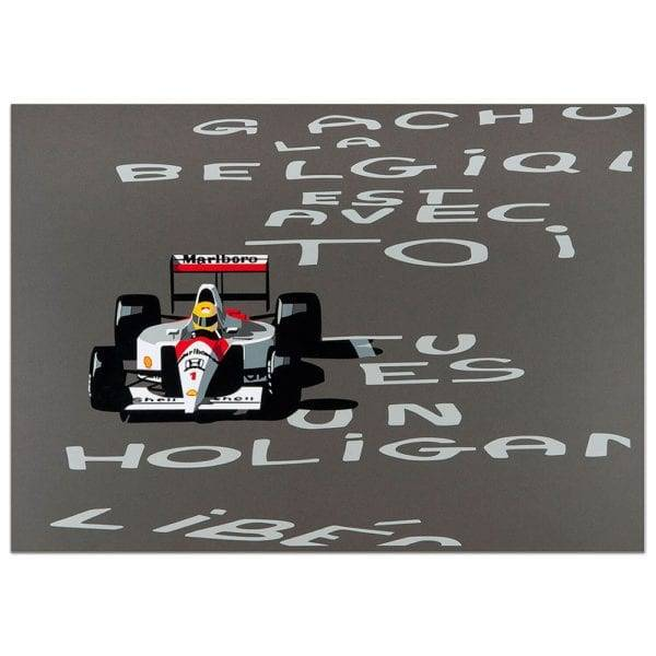 A print titled speed icons depicting Senna in the Belgian GP 1991 by artist Joel Clark