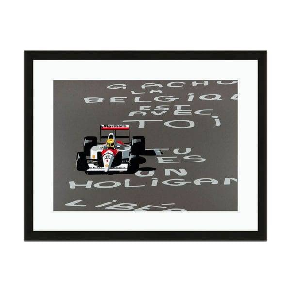 A frames print titled speed icons depicting Senna in the Belgian GP 1991 by artist Joel Clark