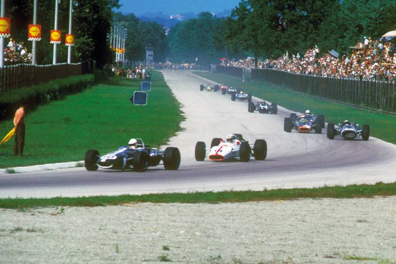 Jack Brabham leading the 1965 Italian GP