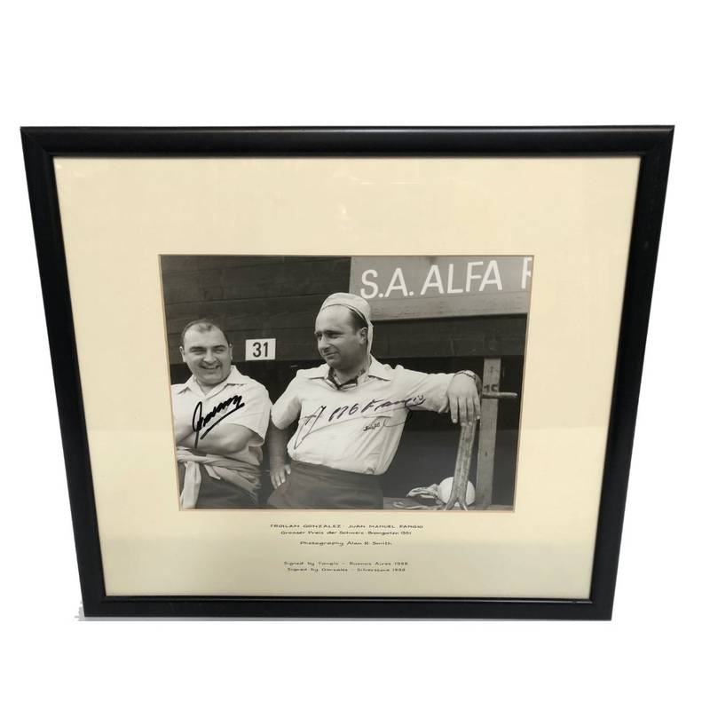 Product image for Juan Manuel Fangio - Froilan Gonzalez - 1951 Swiss Grand Prix | signed photograph