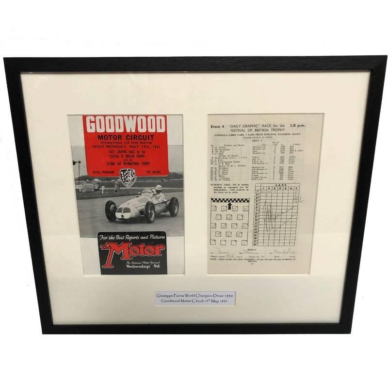 Product image for Giuseppe Farina - Maserati - 1951 | Goodwood Programme | signed Giuseppe Farina