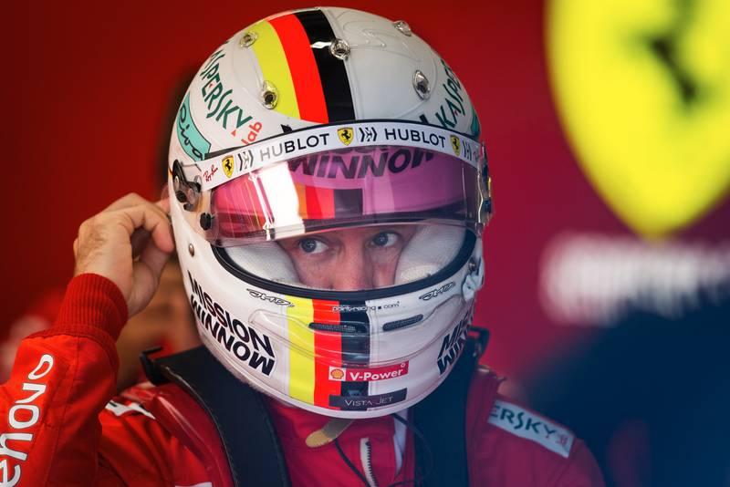 Sebastian Vettel in the Ferrari garage