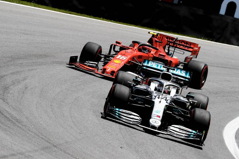 Charles Leclerc chases Lewis Hamilton in the 2019 F1 Brazilian Grand Prix