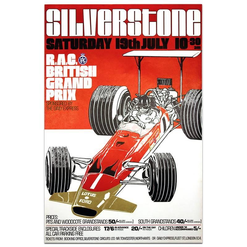 Product image for Original   British Grand Prix 1969 Silverstone Poster