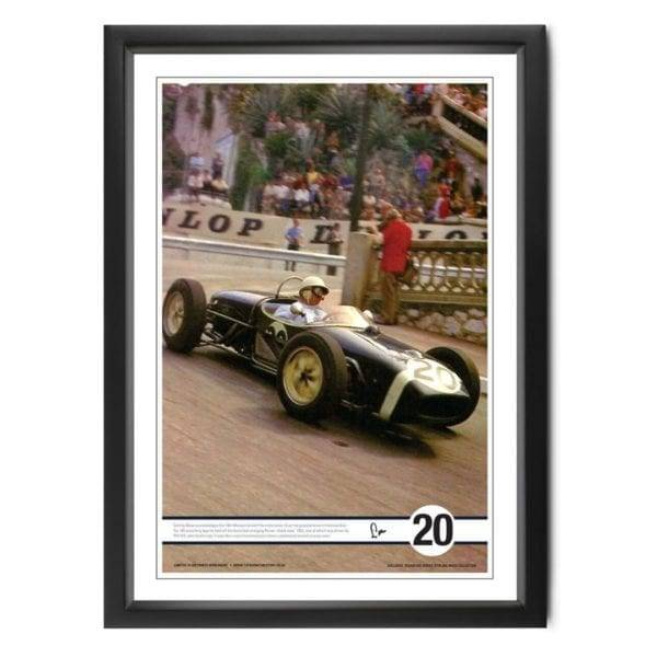 Photograph capturing Stirling Moss in the Lotus 18 at the 1961 Monaco GP