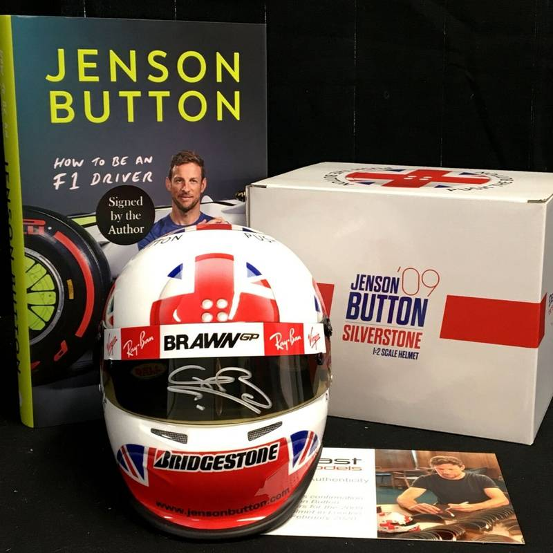 Product image for Jenson Button Signed Bundle | 2009 British GP helmet | How to be an F1 Driver