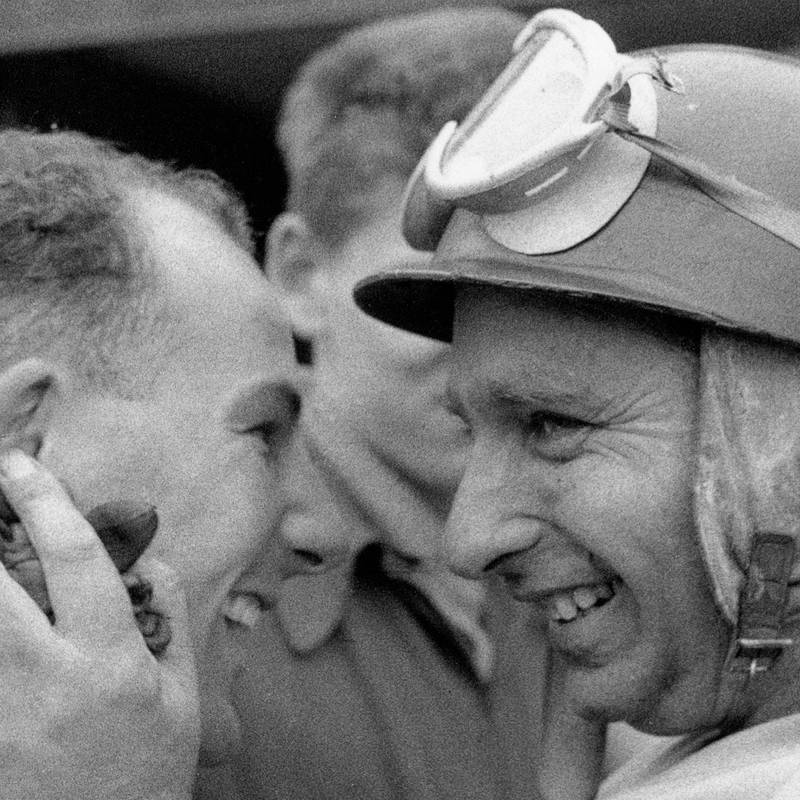 Moss and Fangio square