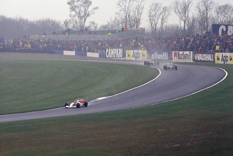 Ayrton Senna stretches his lead during the 1993 European Grand Prix at Donington