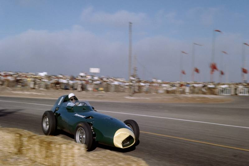 Stirling Moss in a Vanwall VW5 during the 1958 Moroccan Grand Prix
