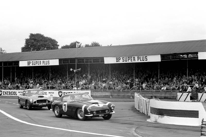 Stirling Moss on his way to his 1960 Tourist Trophy win at Goodwood in a Ferrari 250GT SWB