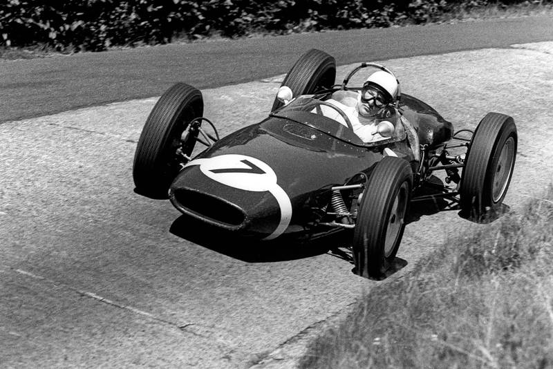 Stirling Moss in a Lotus-Climax a8 at the Nurburgring for the 1961 German Grand Prix