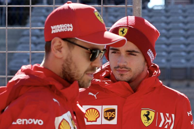 Charles Leclerc and Sebastian Vettel ahead of the 2019 USA Grand Prix