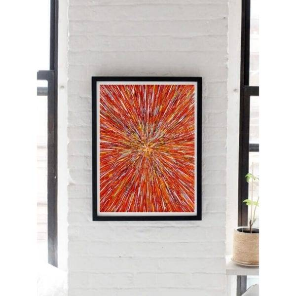 red abstract painting on a wall