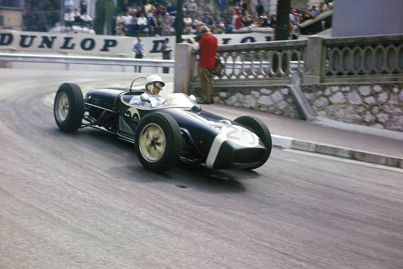 Stirling Moss powers away from the hairpin in the 1961 Monaco Grand Prix