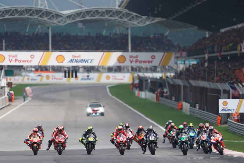 MotoGP race start in Sepang