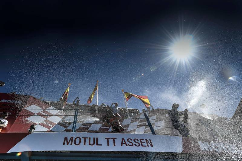 2018 MotoGP podium celebrations at Assen