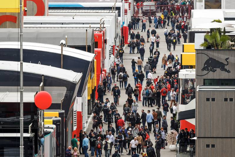 Paddock during 2020 preseason F1 testing in Barcelona