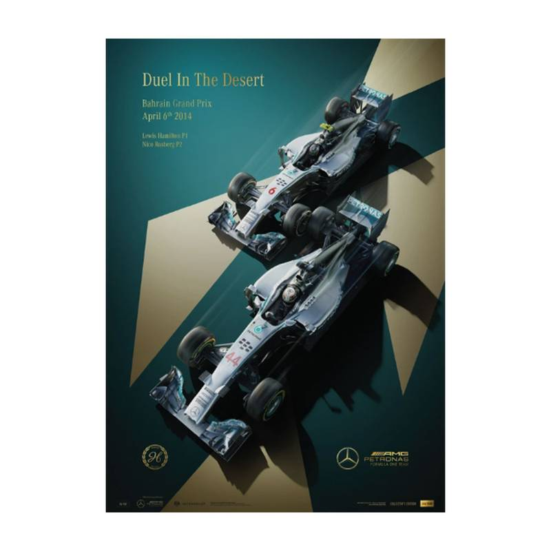 Product image for Duel In the Desert | Lewis Hamilton & Nico Rosberg - Mercedes - 2014  | Limited Edition poster