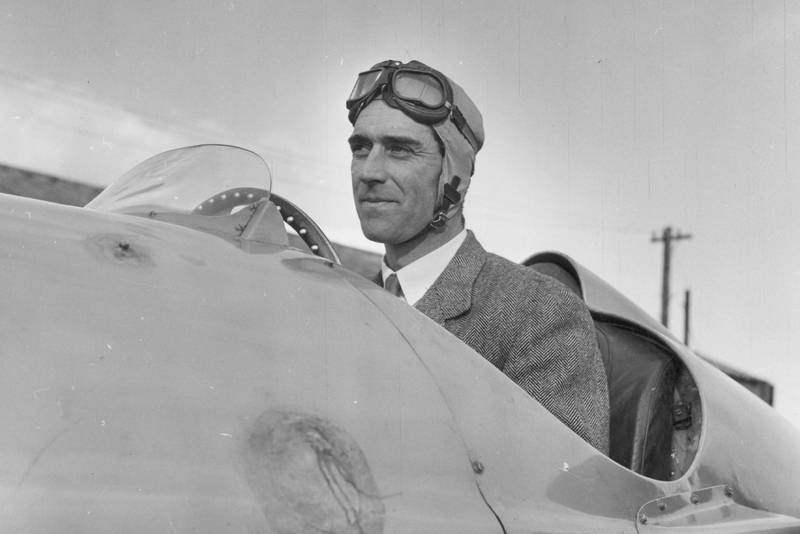 Peter Walker at the wheel of the first BRM in 1950