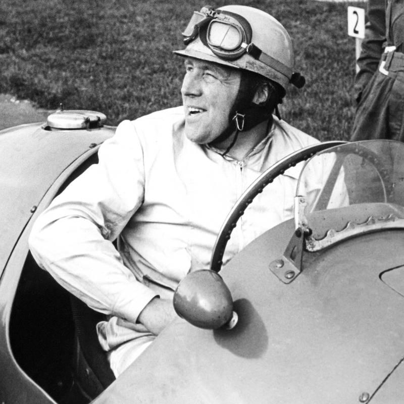 Reg Parnell at Silverstone, UK.