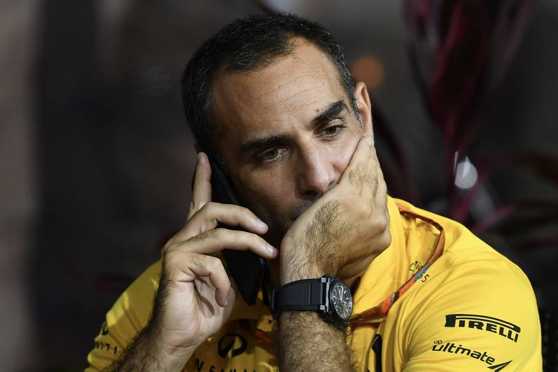 Cyril Abiteboul rests his chin on his hand