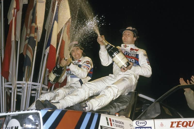 Miki Biasion and Tiziano Siviero celebrate winning the 1987 Monte Carlo Rally