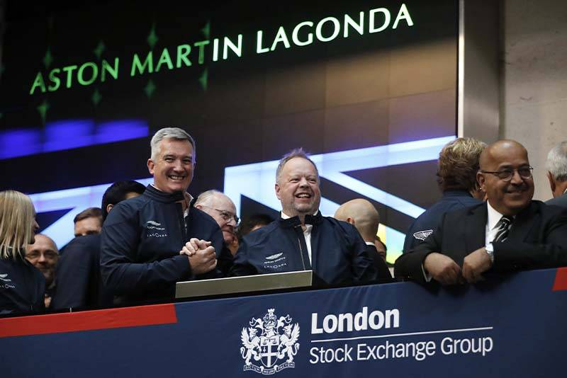 Andy Palmer at the London Stock Exchange when Aston Martin was floated