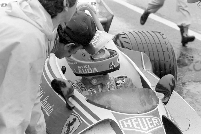Niki Lauda pulls into the pits and retires from the 1976 Japanese Grand Prix