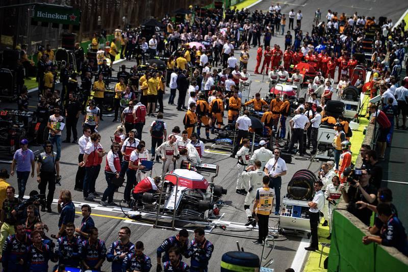 Busy grid at the 2019 Brazilian Grand Prix