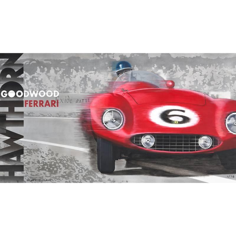 Product image for Mike Hawthorn - Ferrari 250 Monza - 1955   Geoff Bolam   Aluminium Print
