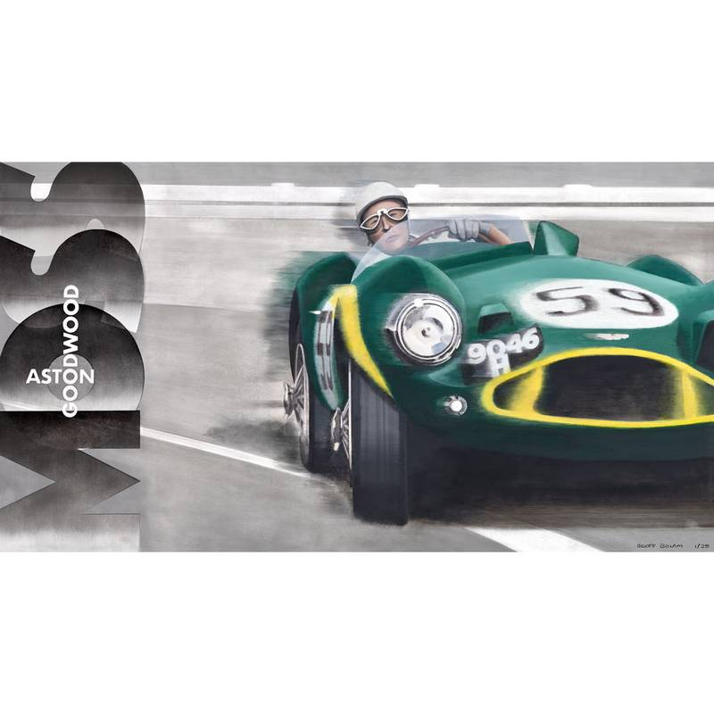Product image for Stirling Moss - Aston Martin DB3S/5 - 1956 | Geoff Bolam | Aluminium Print