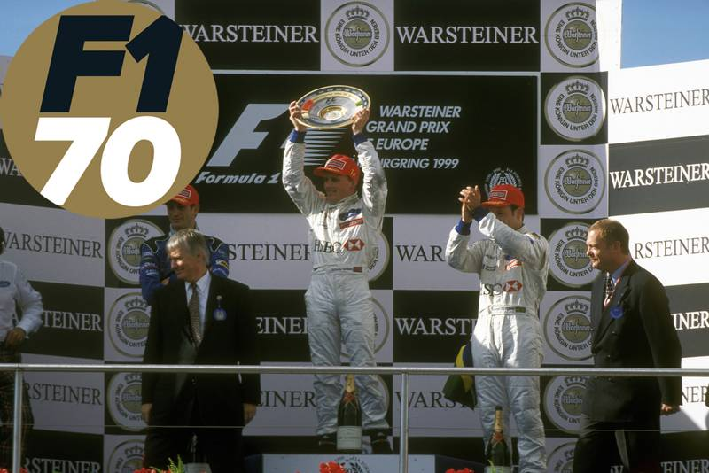 Johnny Herbert on the podium at the Nurburgring 1999