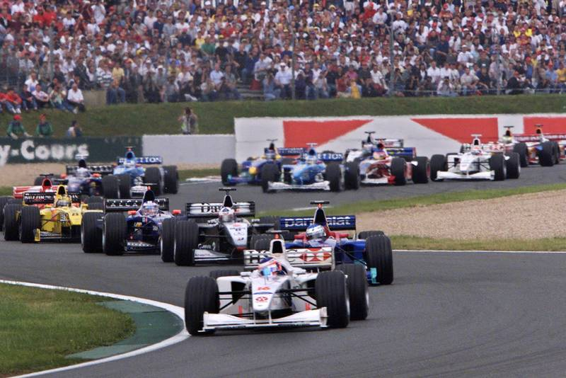 Rubens Barrichello leads at the start of the 1999 French Grand Prix