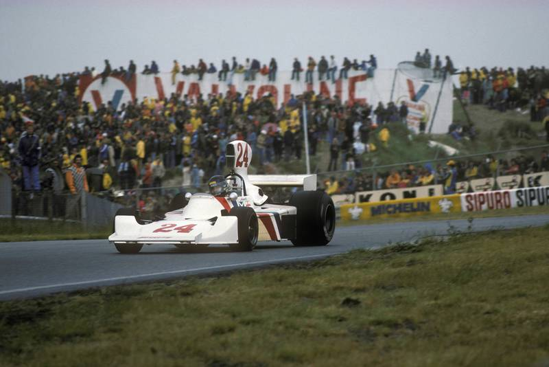 James Hunt on slicks as the track dries at Zandvoort during the 1975 Dutch Grand Prix