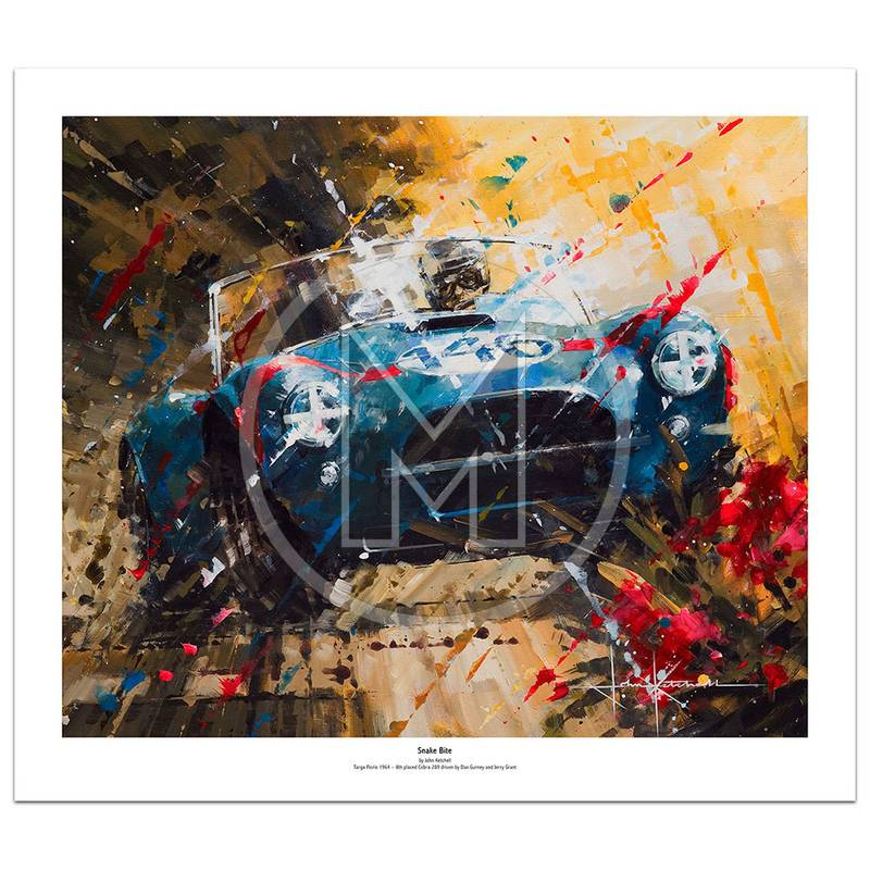 Product image for Snake Bite | Dan Gurney - Cobra 289 -  1964 Targa Florio | John Ketchell | Limited Edition Print