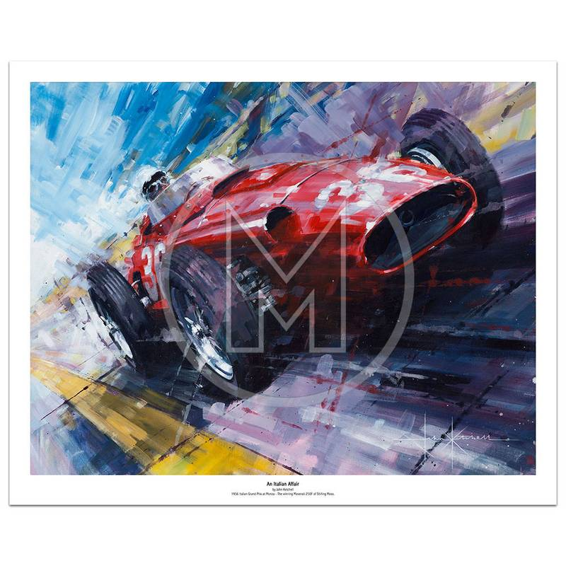 Product image for An Italian Affair | Stirling Moss – Maserati 250F – 1956 | John Ketchell | Limited Edition Print