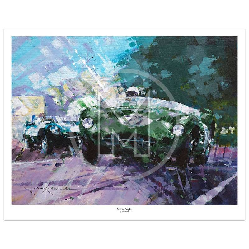 Product image for British Empire | Stirling Moss – Aston Martin DBR2/2 – 1958 | John Ketchell | Limited Edition Print