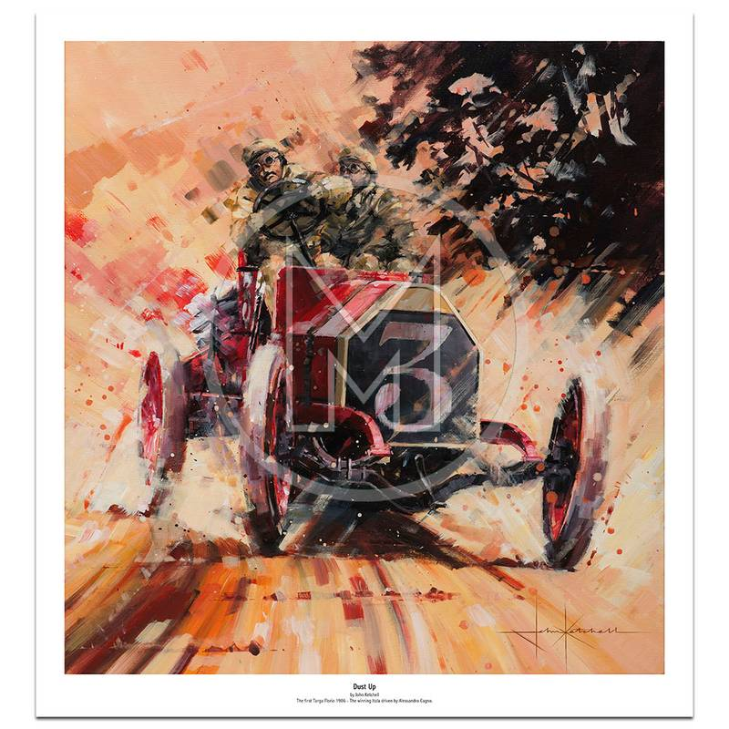 Product image for Dust Up | Alessandro Cagno – Targa Florio – 1906 | John Ketchell | Limited Edition Print