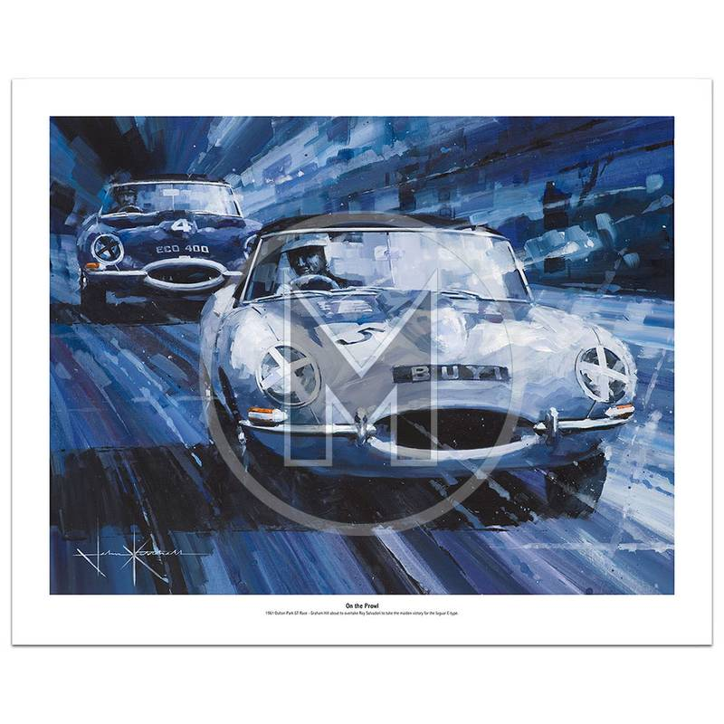 Product image for On the Prowl | Graham Hill – Jaguar E-type – 1961 | John Ketchell | Limited Edition Print