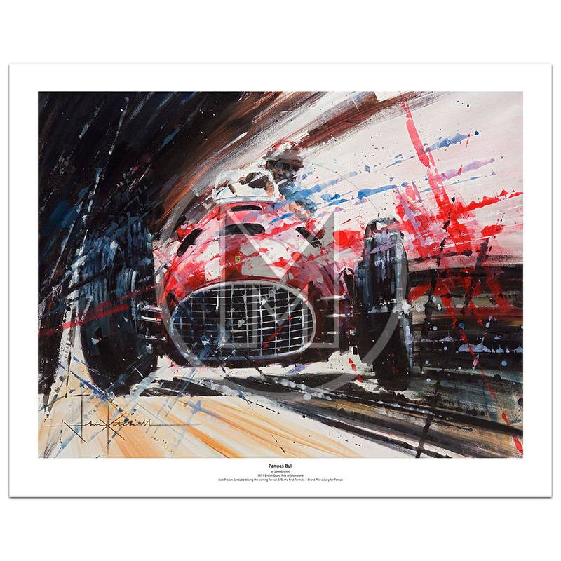 Product image for Pampus Bull | Frolian Gonzalez – Ferrari 375 – 1951 | John Ketchell | Limited Edition Print