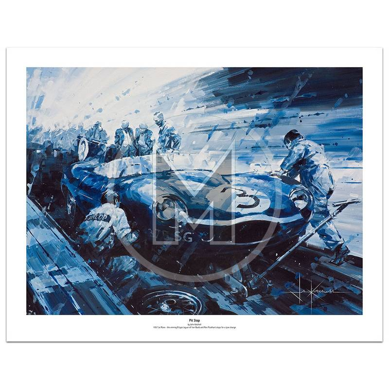 Product image for Pit Stop | Ron Flockhart – Jaguar D-type – Le Mans 1957 | John Ketchell | Limited Edition Print