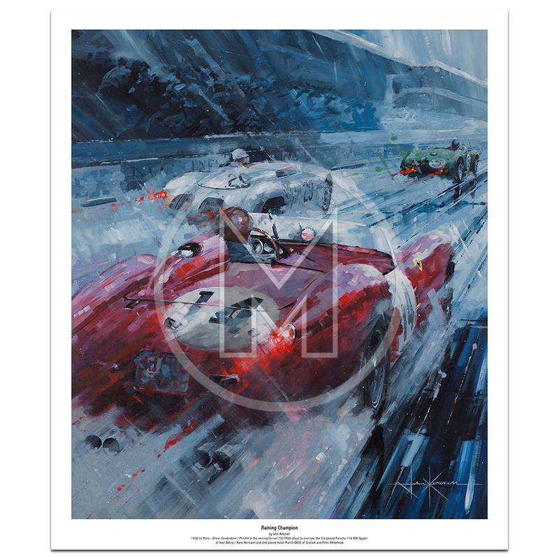 Product image for Raining Champion | Phil Hill – Ferrari 250 – 1958 Le Mans | John Ketchell | Limited Edition Print