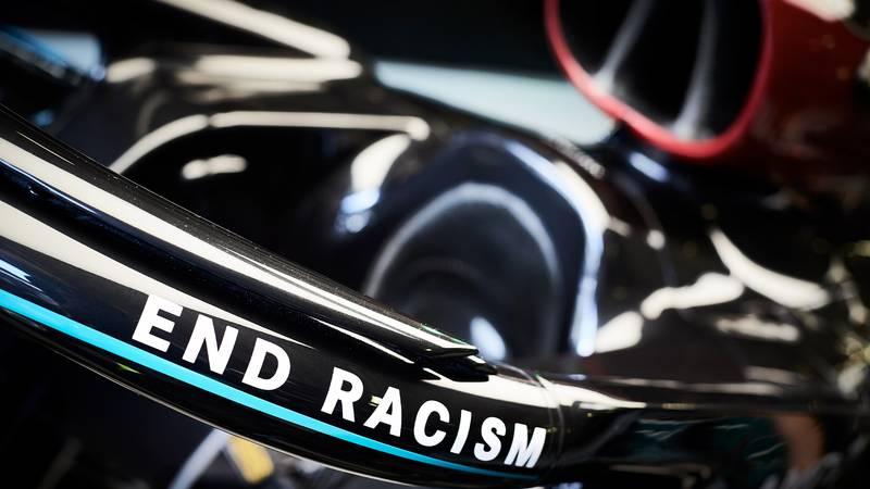 End racism slogan on 2020 Mercedes W11 F1 car