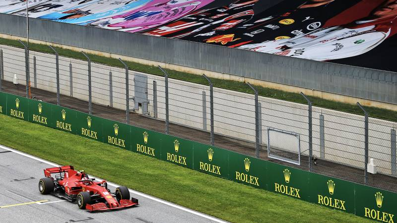 Sebastian Vettel in practice for the 2020 F1 Austrian Grand Prix in front of empty grandstands