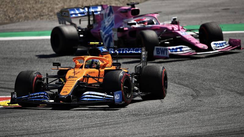 Lando Norris leads Sergio Perez in the 2020 F1 Austrian Grand Prix